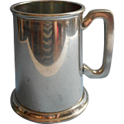 English Pewter Pint Mug Glass Bottom Vintage H. Bros.