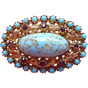 Vintage Brooch Pin Faux Turquoise Glass Cabochon Faux Amethsyt Rhinestones