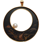 Cultured Pearl Damascene Pendant Vintage Amita Japanese Scene