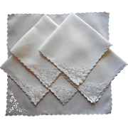 Tea Napkins Cutwork Linen Hand Embroidery Antique  1910s