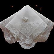 Vintage Hankie Unused Lace Embroidery Original Desco Label