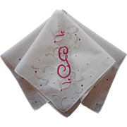 Monogram G Hankie Madeira Vintage Appliqued Hand Embroidered
