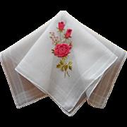 Vintage Hankie Pink Roses Embroidery