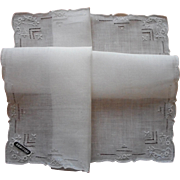 Vintage Hankie Unused Hand Embroidery Original Paper Label