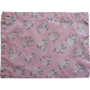 Vintage Hankie Case Pink Printed Cotton Flocked Butterflies
