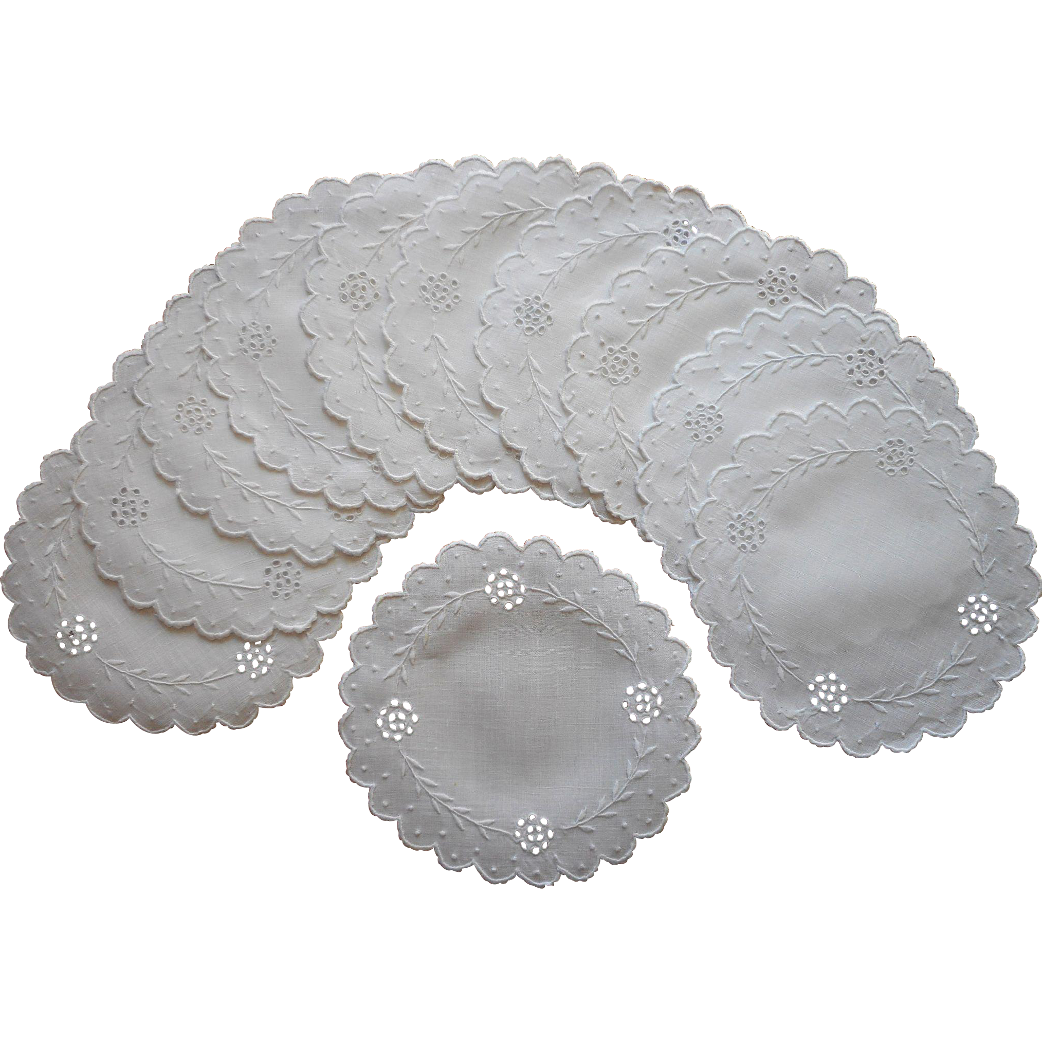 Finger bowl doilies coasters antique linen cutwork for Glass cut work designs