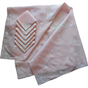 Vintage Pink Linen Set Tablecloth Napkins Italian Work Hand Embroidery
