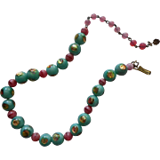 Vintage Foil Art Glass Beads Necklace Aqua Pink