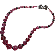 Pink Vintage Crystal Beads Facteed Necklace Restrung