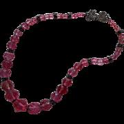 Pink Vintage Crystal Beads Faceted Necklace Restrung