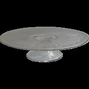 1920s Cake Pedestal Engraved Glass Grapes Stripes
