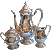 Vintage Tea Set Coffee Camille Pattern Silver Plated International