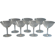Thistle Etched Glass Champagne Cocktail Glasses Very Vintage Set 7