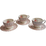 Rose Bouquet Johnson Brothers Vintage 3 Cups Saucers England China