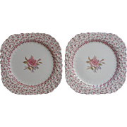 Rose Bouquet Johnson Brothers Vintage 2 Square Salad Plates Dessert  England China