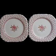 Rose Bouquet Johnson Brothers Vintage 2 Square Salad Plates Dessert  England China