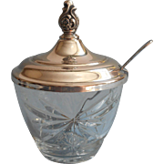EAPC Anchor Hocking Prescut Jam Pot Marmalade Silver Plated Lid Early American