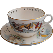 Royal Worcester Very Important Person Oversized Gentleman's Cup Saucer Boating Boats Bone China - Red Tag Sale Item