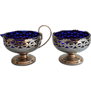 Vintage Cobalt Blue Glass Pierced Metal Frames Sugar Bowl Creamer Set