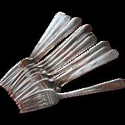 Art Deco Forks Vintage Silver Plated 12 salad Dessert 1932 Friendship Medality