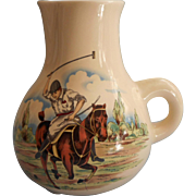Vintage Polo Scene Pottery Whiskey Water Pitcher Midcentury Lord and Taylor Barware