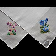 2 Vintage Hankies Hand Embroidery Flowers Unused B. Altman Original Paper Label