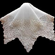 Vintage Hankie Fine Gauge Lavish Crocheted Lace Unused