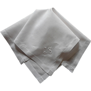 Monogram J. S. Antique Mens' Hankie Linen
