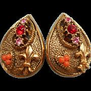Vintage Earrings 1960s Victorian Revival Fleur De Lis Signed Amerique