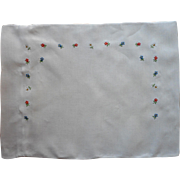 Baby Pillow Sham Vintage Hand Embroidered Bright Little Flowers