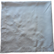 Antique Tablecloth White Work Hand Embroidery Square Linen TLC