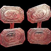 Monogram D. S. Antique 14K Gold Cufflinks