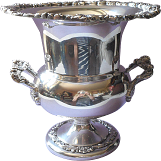 Vintage Champagne Bucket Ornate Silver Plated On Copper Sheridan
