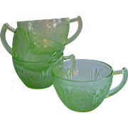 Cherry Blossom Depression Glass 4 Cups Green Vintage