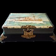 Victorian Photo Album Music Box Antique Ocean Liner Celluloid Cover Velvet Silk Brass