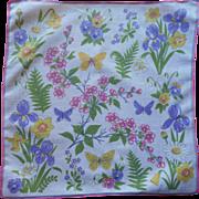 Signed Sally Victor Hankie Vintage Linen Printed Spring Flowers