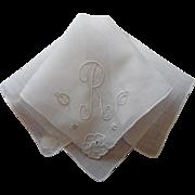 Monogram R Madeira Vintage Linen Hankie Original Label