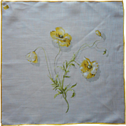 Oversized Vintage Printed Hankie Unused Yellow Poppies Kimball Label