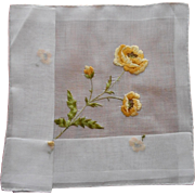 Embroidered Yellow Poppies Vintage Fine Hankie Unused