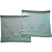 Aqua 1920s Towels Pair Angels Vintage Silky Viscose Damask