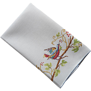 1920s Towel Bird Branch Berries Hand Embroidery Vintage Linen