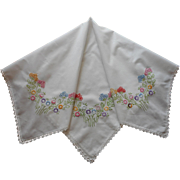 1920s Colored Hand Embroidery Vintage Luncheon Tablecloth TLC