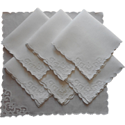 Tea Napkins Madeira Organdy Applique Linen Hand Embroidery Vintage