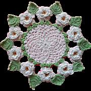 Vintage Crocheted Doily 3D White Flowers Jadeite Green Leaves