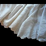 Antique Fabric Petticoat Ruffling Eyelet Lace Embroidery Batiste Yardage