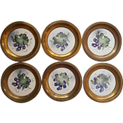 Antique German Wine Coasters Brass Porcelain Grapes Set 6