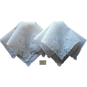 Vintage Madeira Hankies Pair Unused Hand Embroidery Linen Blue White