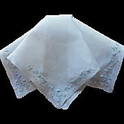 Vintage Madeira Hankie Blue Hand Embroidery White Linen