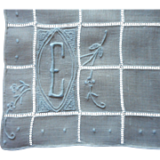 Monogram E Vintage Linen Hankie Ice Blue Hand Embroidery On White