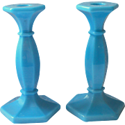Antique Candlesticks Glass 1910s to 1920s Turquoise Blue Milk Glass